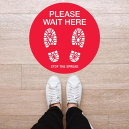 Please Wait Here Round Floor Graphic